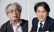 作家葉室麟さん(左)と映画「蜩ノ記」で主演した役所広司さん(右)