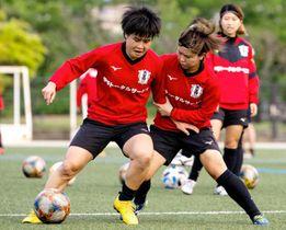 対人プレーの練習に取り組む愛媛FCレディースの選手