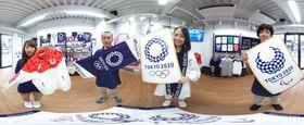 東京・原宿に登場した、2020年東京五輪・パラリンピックの公式ライセンス商品を扱うショールーム=13日午後(360度カメラで撮影)