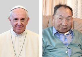 ローマ法王フランシスコ(左、ロイター=共同)、袴田巌さん