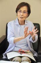 県が独自にまとめた「水俣病対策案」について語る策定当時の知事、潮谷義子さん=熊本市中央区