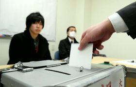 大分市議選の期日前投票の様子=2月15日
