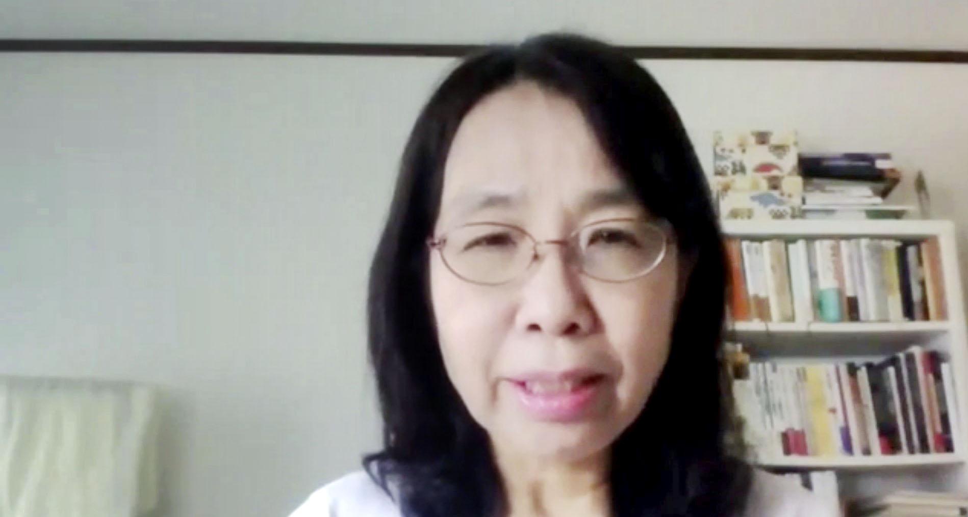 日本平和学会がオンラインで開いた研究大会で発言する会長の竹中千春立教大教授=31日