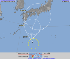 気象庁が発表した台風12号の進路予想図