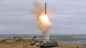 米が発射実験を行った地上発射型巡航ミサイル=18日、カリフォルニア州サンニコラス島(米国防総省提供・AP=共同)