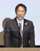 会合で国際貢献事業の実績を報告するスポーツ庁の鈴木長官=9日午後、東京都内