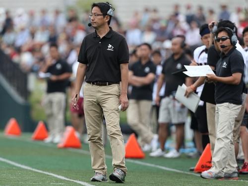 富士通で9年目のシーズンを迎える藤田智ヘッドコーチ=撮影:Yosei Kozano、川崎球場