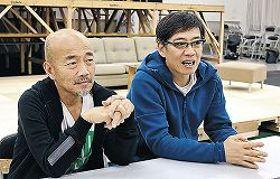 作品について語る竹中直人さん(左)、生瀬勝久さん=東京・江東区の稽古場