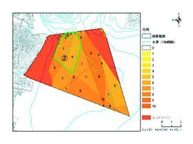 鳴門市が洋上風力発電に適しているか調査した沖合。事業が行えない「レッドゾーン」を除く緑の枠内が条件付きで適している海域(市提供)