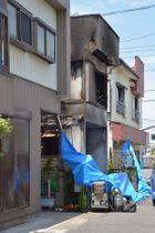 火災のあった現場=22日午前11時40分ごろ、三郷市中央5丁目