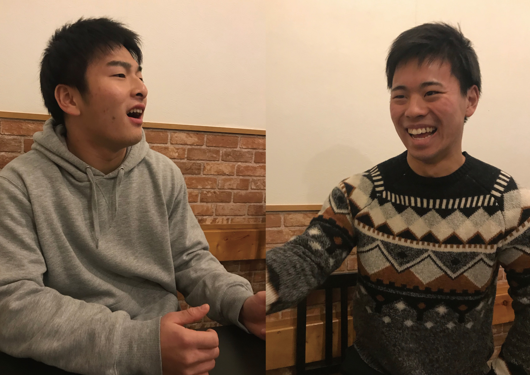 対談する元山選手(左)と佐藤選手