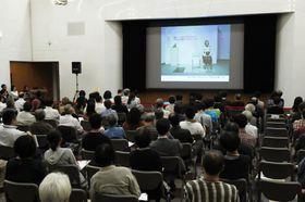 愛知県が設置した検証委員会が開いた、表現の自由を考えるフォーラム=21日午後、名古屋市