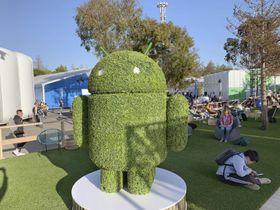 米グーグルのスマートフォン向け基本ソフト「アンドロイド」のキャラクター=7日、米カリフォルニア州マウンテンビュー(共同)