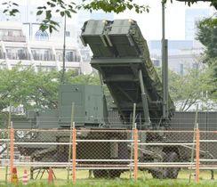 東京・市谷の防衛省敷地内に配備されているPAC3=11日午後