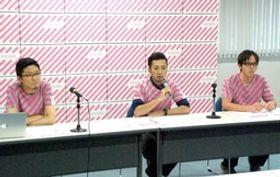 「燕三条 工場の祭典」について説明する実行委員会メンバー=3日、三条市