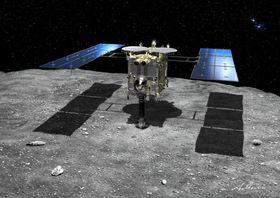 小惑星りゅうぐうとはやぶさ2の想像図(そうぞうず)=JAXA提供