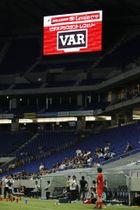 ルヴァン杯準々決勝のG大阪―FC東京戦の後半、VARの適用を示す電光掲示板=4日、パナスタ