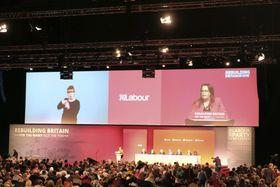 23日、英中部リバプールで始まった英労働党大会(共同)