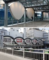 (上)デッキに復活したかまぼこ屋根とめがね模様、(下)再開発前の東横線渋谷駅外観