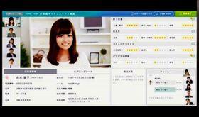 オンライン面接ができる「インタビューメーカー」の画面イメージ。右下で面接官同士が会話している(スタジアム提供)