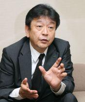インタビューに答える東京電力ホールディングスの小早川智明社長