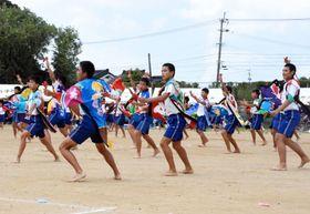 大漁旗を仕立て直した鮮やかな法被を着てよさこいソーラン節を踊る中種子中学校3年生=中種子町野間