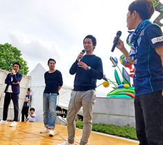 ケン坊田中応援団長(右端)を司会にトークショーを行った(右から)中町、中島氏、山形氏