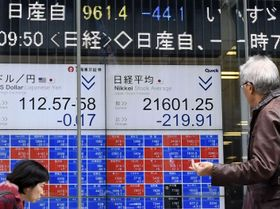 急落した日産自動車の株価と日経平均株価を示すモニター=20日午前、東京都中央区