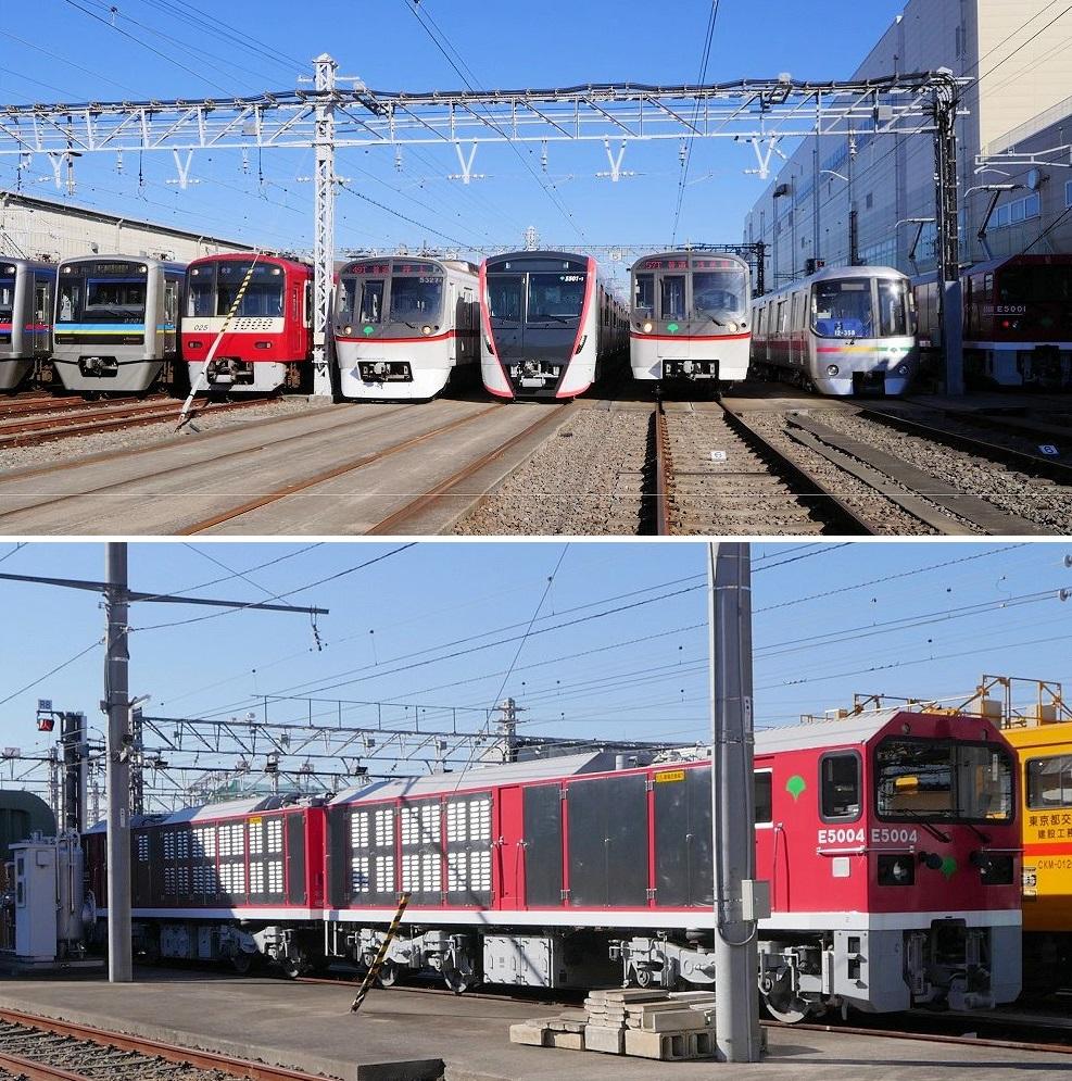(上)ずらりと並んだ都営浅草線車両や乗り入れ各社の車両。右端に大江戸線電車とE5000形、(下)留置線のE5000形。機関車2両が連結されているのがよく分かる