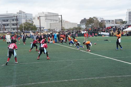 各カテゴリーの試合でレベルの高い攻防が繰り広げられた=写真提供:日本フラッグフットボール協会、23日、川崎球場
