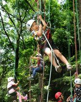 ロープを使ってツリークライミングに挑戦する子どもたち(京都府宇治市広野町・府立山城総合運動公園)