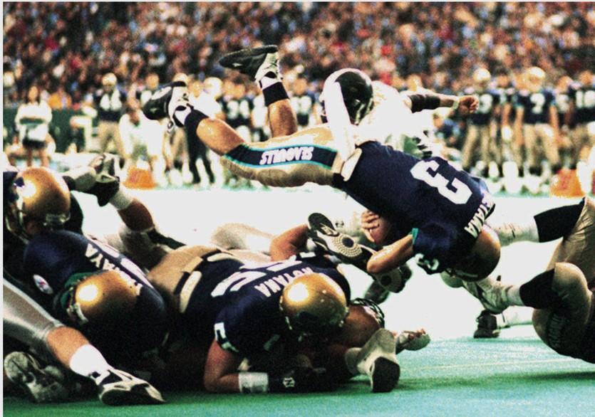 京大とリクルートが対戦した1997年のライスボウル=東京ドーム