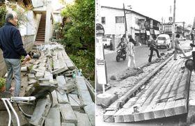 熊本地震で倒壊したブロック塀(左)=2016年4月、熊本県益城町、宮城沖地震で倒壊したブロック塀(右)=1978年6月、宮城県内