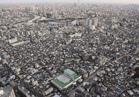 東京都内の住宅密集地。単身世帯が増えている=2013年