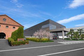 長崎造船所に建設される航空エンジン部品工場のイメージ図。左のレンガ造りは三菱重工長崎造船所史料館(三菱重工業提供)