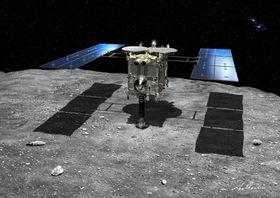 小惑星りゅうぐうと探査機はやぶさ2の想像図(JAXA提供)