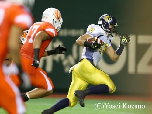2Q、オール三菱WR吉田へのパスが通り逆転TD=撮影:Yosei Kozano、25日、東京ドーム
