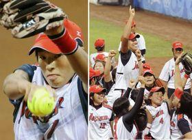 2008年8月、北京五輪のソフトボールで米国を破り金メダルを獲得した日本チーム、左は大会で好投した上野投手(共同)