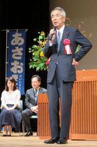 集会であいさつする伊吹元議長=横浜市栄区