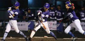 愛媛対徳島 徳島5回、(左から)友居、平間、球斗の3連打で3-1と勝ち越す=JAバンク徳島スタジアム