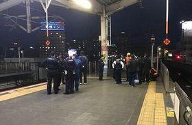 JR岡山駅の新幹線ホーム=20日午後5時49分