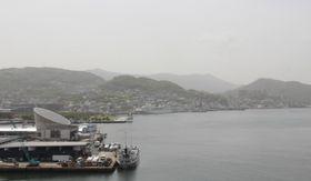展望スペースからの長崎港の眺め