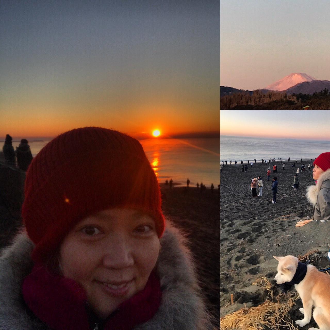初日の出、染まる富士山