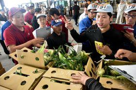 スイートコーンの「午後競り」で開始と同時に次々と競り落としていく仲卸売業者たち=20日午後2時、宮崎市中央卸売市場