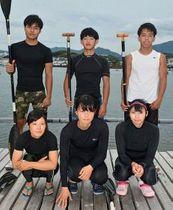 近畿高校総体で優勝した(前列左から)山本妙湖さん、尾崎由依さん、小林実央さん。(後列左から)冨塚晴之君、野久保翔万君、舩本佑哉君