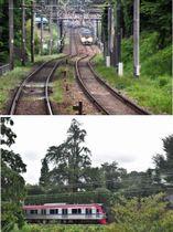 (上)カーブする線路の右上が高勝寺 (下)カヤの木の脇を疾走する京王相模原線