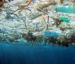海に浮かんだ大量のプラスチックごみ(米海洋大気局提供)