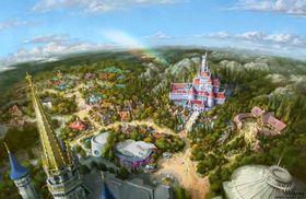 『美女と野獣』のアトラクションを中心とする新エリアの完成イメージ((c)Disney)
