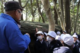 キリシタンがオラショを練習していたと伝わる「祈りの岩」で説明を聞く児童=長崎市下黒崎町
