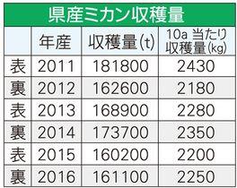 和歌山県産ミカン収穫量